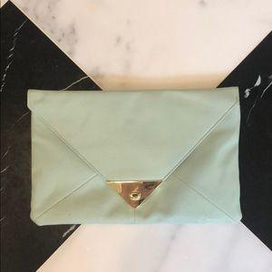 ASOS mint green pleather envelope clutch